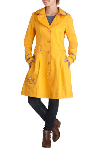Paddington Flare Coat by Blutsgeschwister - Cotton, Woven, Long, 2, Yellow, Solid, Buttons, Embroidery, Pleats, Trim, Collared, Yellow