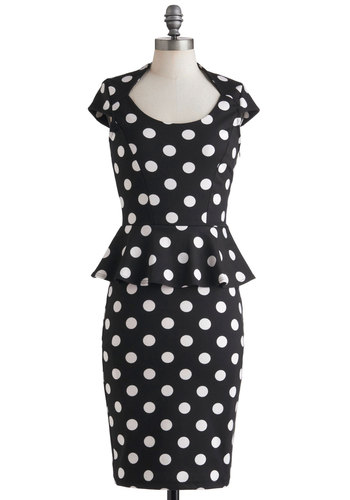 The Lady in You Dress - Long, Black, White, Polka Dots, Party, Peplum, Cap Sleeves, Vintage Inspired, 60s, Pinup, Work, Rockabilly