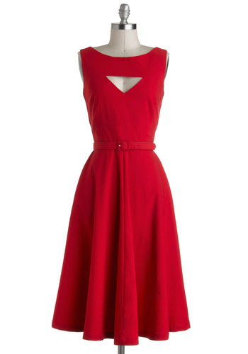 The Evening Unfolds Dress in Red by Bettie Page - Long, Red, Solid, Cutout, Belted, A-line, Sleeveless, Party, Rockabilly, Vintage Inspired, 50s, 40s, Fit & Flare, Pinup, White, Cocktail, Variation, Valentine's