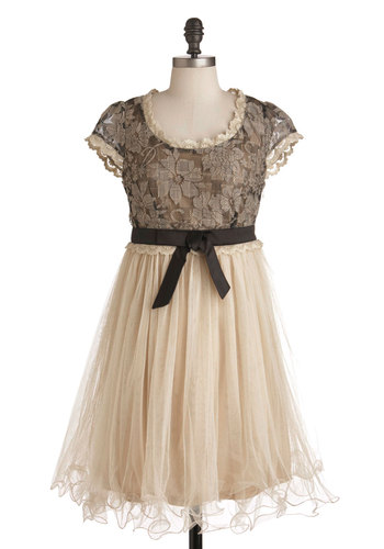 Chance for Romance Dress by Ryu - Mid-length, Cream, Black, Bows, Lace, Party, Empire, Cap Sleeves, Fairytale, French / Victorian, Steampunk, Cocktail, Holiday Party, Sheer, Formal, Prom
