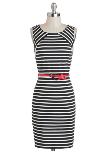 Walk a Divine Line Dress - Black, White, Stripes, Exposed zipper, Belted, Bodycon / Bandage, Sleeveless, Work, Pinup, Vintage Inspired, Knit, Mid-length