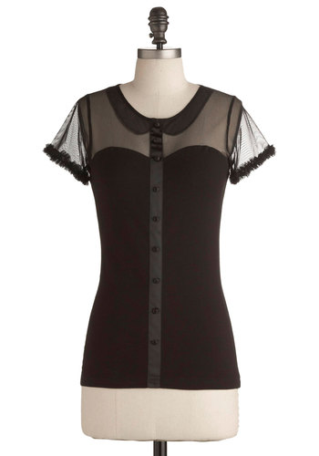 Iconic Presence Top by Effie's Heart - Mid-length, Steampunk, Best Seller, Variation, 60s, Pinup, Black, Short Sleeve