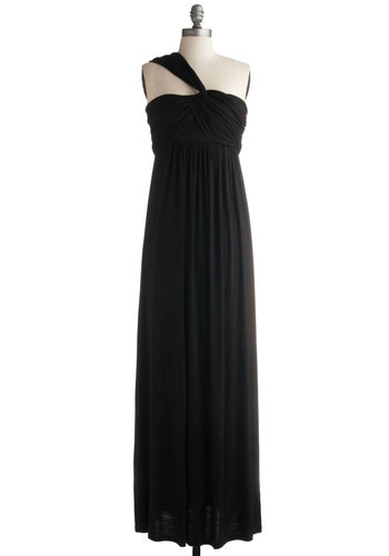 Demeter Maxi Dress in Black - Black, Solid, Party, Casual, Empire, Maxi, Tank top (2 thick straps), One Shoulder, Jersey, Long, Basic