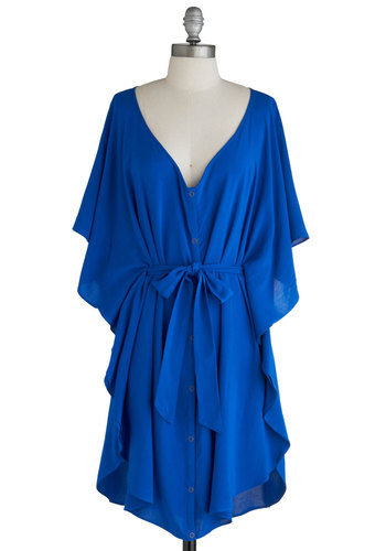 Blue and Me Forever Dress by Jack by BB Dakota - Blue, Solid, Sheath / Shift, Short Sleeves, Ruffles, Casual, Mid-length, Exclusives, Belted, Variation, Beach/Resort, Summer, Sundress