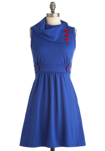 Coach Tour Dress in Azure - Casual, Nautical, Blue, Red, Solid, Buttons, A-line, Sleeveless, Pockets, Holiday Sale, Cowl, Work, Variation, Basic, Best Seller, Fall, Mid-length