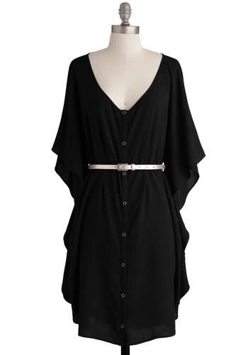 You and Me Forever Dress in Black by Jack by BB Dakota - Black, Solid, Buttons, Ruffles, Casual, Shift, 3/4 Sleeve, Mid-length, Exclusives, Belted, Boho, 70s, 80s, Button Down, V Neck, Variation, Beach/Resort, Summer