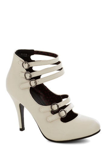 Buckling the Trend Heel - High, Faux Leather, Cream, Solid, Buckles, Wedding, Bridesmaid, Bride, Good, Party, Girls Night Out, Statement, Steampunk