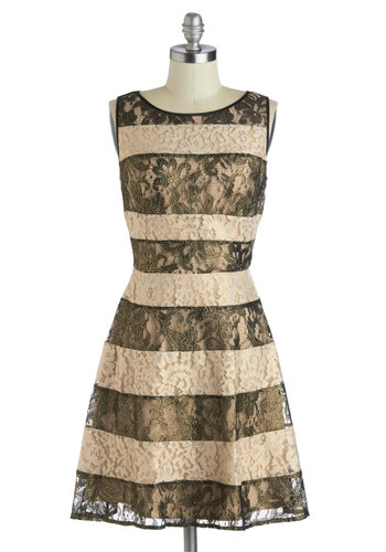 Luxe and Lustrous Dress - Mid-length, Woven, Black, Gold, Stripes, Lace, A-line, Sleeveless, Scoop, Party, Luxe, Cream, Better, Holiday Party, Prom, Lace