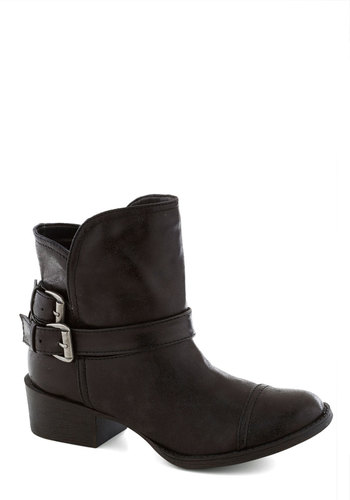 Commanding Character Bootie in Black - Black, Solid, Buckles, Mid, Faux Leather, Good, Casual, Fall, Military