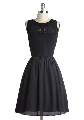 Show Motion Dress - Woven, Mid-length, Sheer, Black, Solid, Lace, Pockets, Cocktail, A-line, Sleeveless, Better, Party, Fit & Flare, LBD
