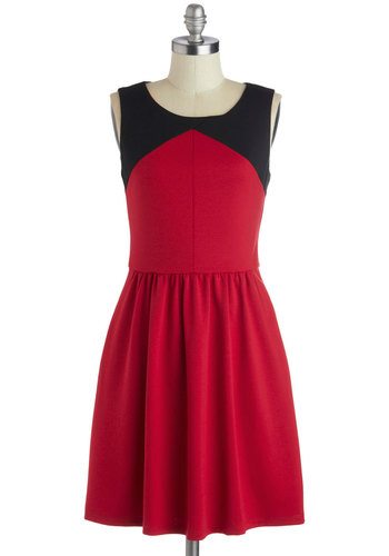 Must Be Kismet Dress - Mid-length, Jersey, Woven, Red, Black, Cutout, Exposed zipper, Pockets, A-line, Sleeveless, Better, Scoop, Solid, Colorblocking, Work, Casual, Valentine's