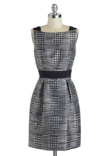My Work Here is Fun Dress - Mid-length, Woven, Pockets, Sleeveless, Better, Grey, Black, Houndstooth, Work, Shift