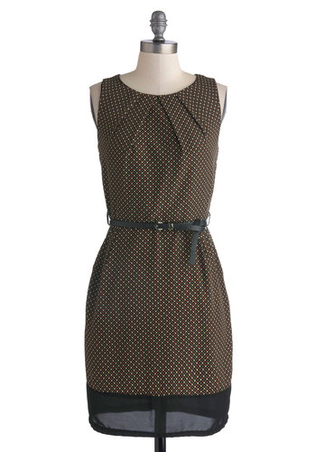 Hidden Message Dress - Mid-length, Woven, Black, Print, Pockets, Belted, Work, Sheath / Shift, Sleeveless, Good, Scoop, Brown