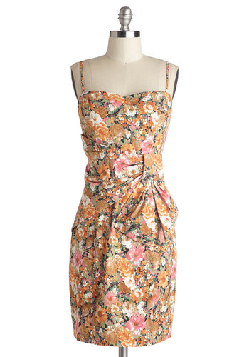Dinner on the Deck Dress in Amber - Mid-length, Knit, Multi, Floral, Bows, Ruching, Party, Sheath / Shift, Spaghetti Straps, Better, Sweetheart, Girls Night Out, Vintage Inspired, Variation