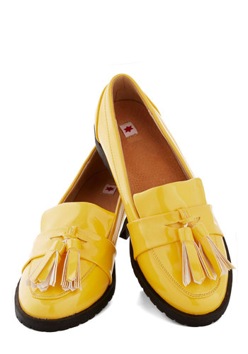 Under the Sunshine Flat by Kling - Low, Faux Leather, Yellow, Tassels, Menswear Inspired, Better
