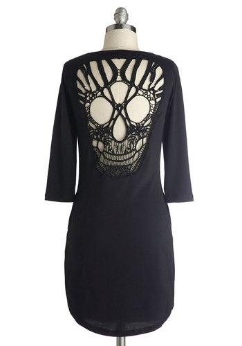 Heads Up! Tunic - Black, Crochet, 3/4 Sleeve, Better, Cotton, Sheer, Knit, Jersey, Long, Urban, Solid, Buttons, Cutout, Pockets, Casual, Scoop, Statement, Halloween