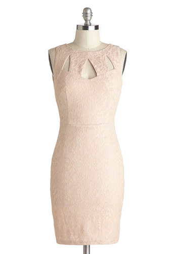 Across the Table Dress in Petal - Mid-length, Knit, Pink, Solid, Backless, Cutout, Lace, Party, Bodycon / Bandage, Sleeveless, Good, Girls Night Out, Vintage Inspired, 80s, Pastel, Variation