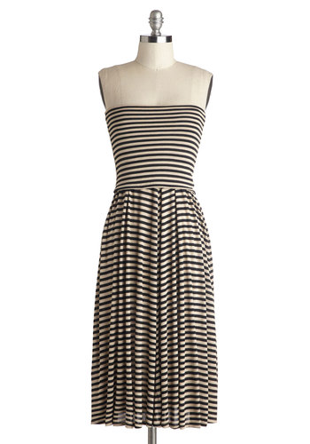 Performance in the Park Dress - Tan / Cream, Black, Stripes, Casual, A-line, Strapless, Good, Long, Jersey, Knit, Beach/Resort, Minimal