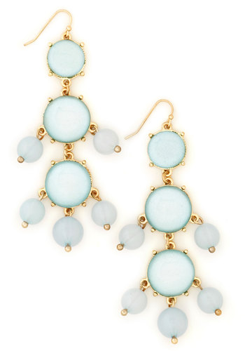 Can Dew Drop Earrings - Blue, Gold, Solid, Tiered, Party, Pastel, Beads