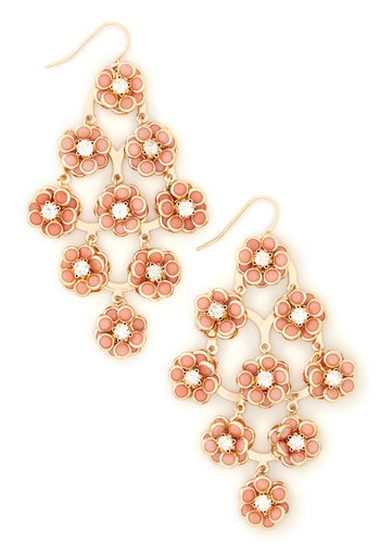 Know What I Gleam? Earrings - Coral, Gold, Solid, Flower, Rhinestones, Tiered, Pastel, Pink, Party