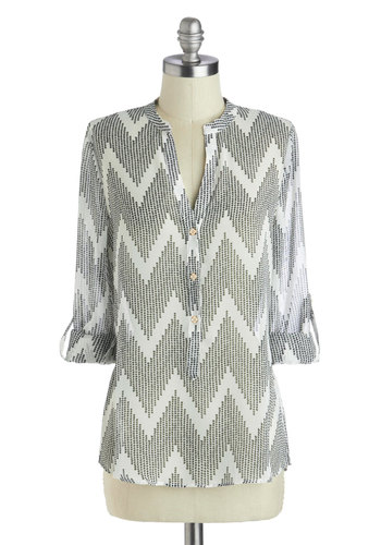 Radio Show Must Go On Top - Sheer, Mid-length, Woven, Multi, White, Chevron, Work, Long Sleeve, Good, Casual, Grey, Grey, Tab Sleeve