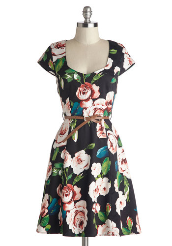 Retreat to the Rose Garden Dress - Black, Multi, Floral, A-line, Cap Sleeves, Good, Sweetheart, Mid-length, Cotton, Woven, Belted, Daytime Party