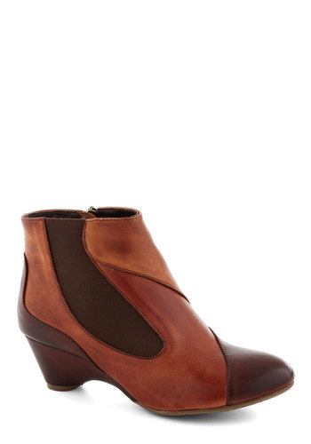 Terra-cotta Ticket Bootie - Tan, Brown, Colorblocking, Leather, International Designer, Mid, Best
