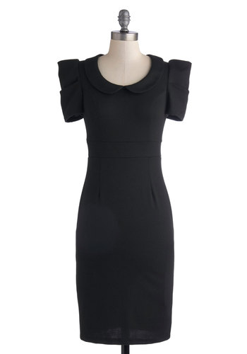 Work It Out Dress - Best Seller, Long, Knit, Black, Solid, Work, Sheath / Shift, Cap Sleeves, Good, Collared, Peter Pan Collar, Vintage Inspired