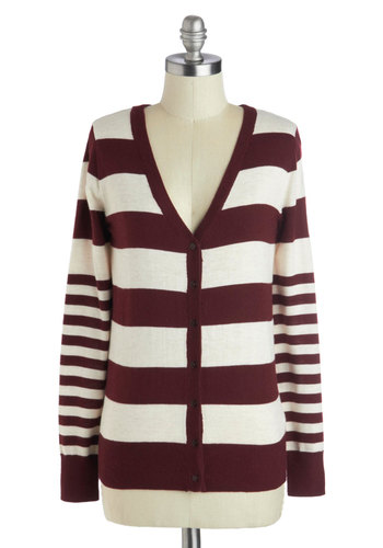Beside the Fireplace Cardigan - Red, Tan / Cream, Stripes, Buttons, Long Sleeve, Mid-length, Knit, Scholastic/Collegiate, Red, Long Sleeve, Gifts Sale