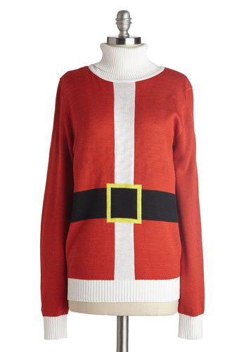 Just Be Claus Sweater - Red, White, Solid, Long Sleeve, Better, Mid-length, Knit, Black, Holiday