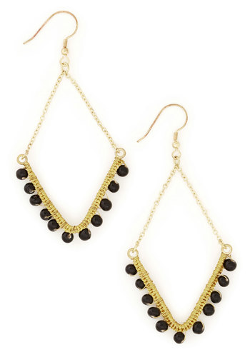 Dare to Dangle Earrings by Mata Traders - Black, Gold, Solid, Beads, Luxe, Eco-Friendly, Party, Gold
