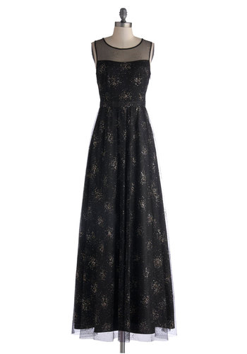 Fireworkin' It Dress - Black, Gold, Glitter, Special Occasion, Prom, Holiday Party, Maxi, Sleeveless, Best, 20s, Long, Woven