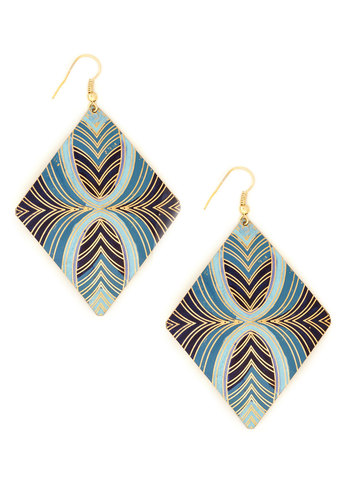 Gold Vibrations Earrings by Mata Traders - Blue, Gold, Print, Eco-Friendly, Gold