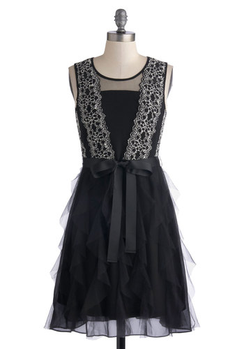 Perennial Perfection Dress by Ryu - Black, Solid, Ruffles, A-line, Tank top (2 thick straps), Better, Scoop, Bows, Lace, Woven, Sheer, Special Occasion, Mid-length