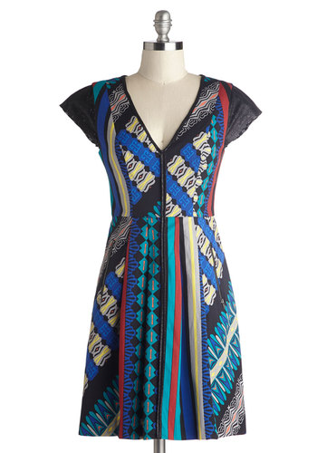 Plenty by Tracy Reese Call it Contemporary Dress by Plenty by Tracy Reese - Mid-length, Sheer, Woven, Red, Blue, Tan / Cream, Black, Print, Pockets, Casual, A-line, Cap Sleeves, Best, V Neck, Multi, Urban