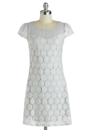 Music in the Park Dress - Solid, Bows, Lace, Shift, Cap Sleeves, Grey, Party, Better, Scoop, Mid-length, Woven, Lace, Pastel