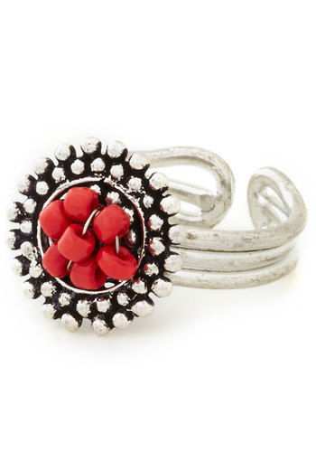 Disc Is It Ring by Mata Traders - Silver, Solid, Better, Red, Beads, Boho, Silver