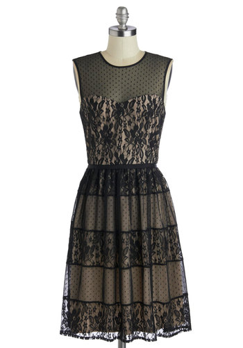 Sultry Songstress Dress - Black, Tan / Cream, Lace, Party, A-line, Sleeveless, Better, Sheer, Woven, Tiered, Long