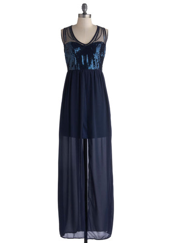 Earth, Wind, and Sapphire Dress - Blue, Solid, Sequins, Party, Maxi, Sleeveless, Better, V Neck, Formal, Long, Chiffon, Sheer, Woven