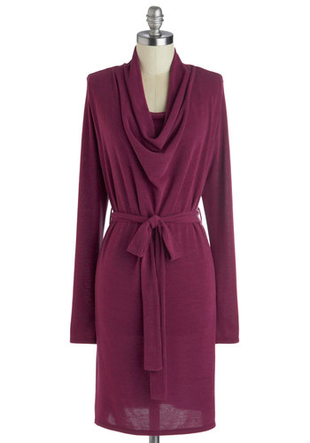 At the News Desk Dress - Solid, Belted, Shift, Long Sleeve, Good, Cowl, Purple, Work, Short, Knit, Winter