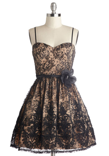 Delighted to Meet You Dress - Black, Gold, Embroidery, Flower, Lace, Formal, Holiday Party, Fit & Flare, Spaghetti Straps, Better, Sweetheart, Woven
