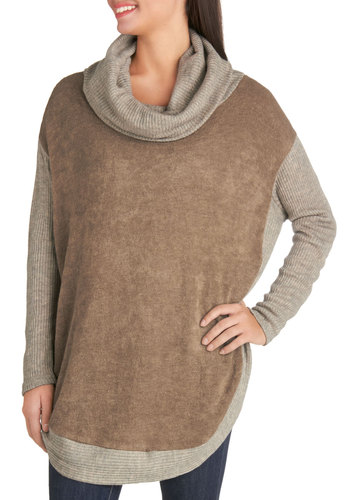 Cozy Nights Sweater - Knit, Long, Solid, Casual, Long Sleeve, Cowl, Tan, Brown, Long Sleeve