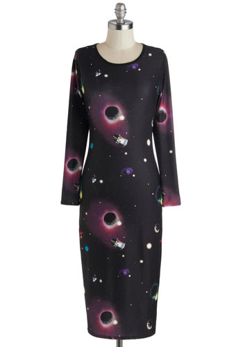 Satellite the Way Dress - Black, Purple, Multi, Party, Bodycon / Bandage, Long Sleeve, Good, Scoop, Novelty Print, Long, Knit, Winter