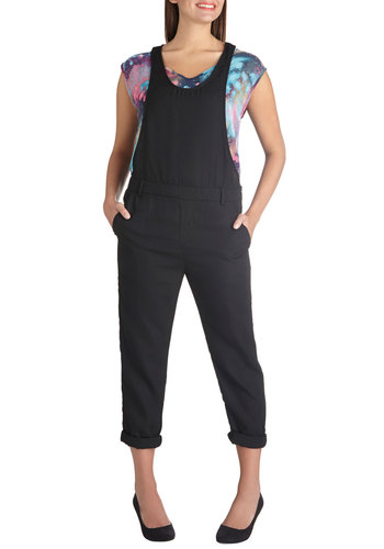 Overalls Expectations - Black, Solid, Casual, Tank top (2 thick straps), Woven, Pockets, Scoop, Urban, 90s