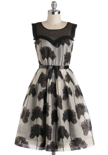 Orla Kiely Make Bloom for Elegance Dress by Orla Kiely - Black, Floral, Belted, Cocktail, Fit & Flare, Sleeveless, Best, Scoop, Sheer, Woven, Long, Tan / Cream, Ruffles, Party, Luxe, Statement, Satin