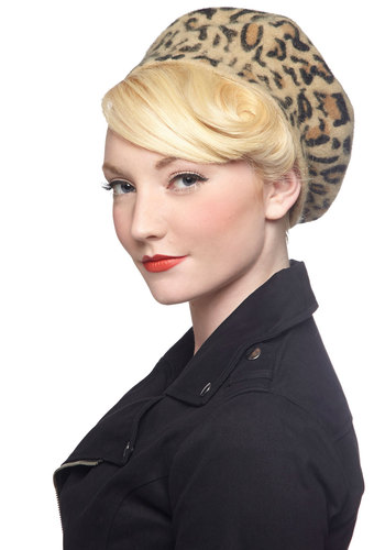 French Immersion Hat - Tan, Black, Animal Print, Better, French / Victorian, Gals, Top Rated