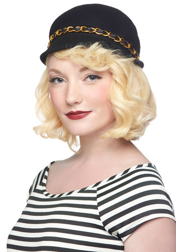 Downtown Dreaming Hat - Black, Gold, Solid, Chain, Better, Vintage Inspired