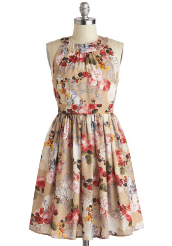 Prized Perennials Dress - Tan, Multi, Floral, Party, A-line, Sleeveless, Crew, Fairytale, Summer, Mid-length, Woven, Exclusives