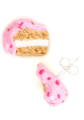 Petit Four Fun Earrings - Pink, White, Quirky, Tan / Cream, Casual, Press Placement