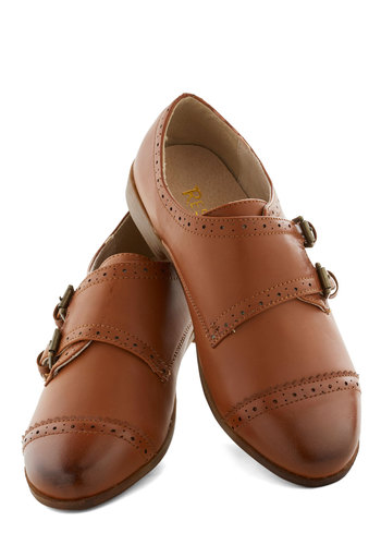 Trot through Bordeaux Flat by Restricted - Brown, Solid, Buckles, Menswear Inspired, Steampunk, Low, Good, Faux Leather